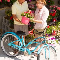 Couple buying flowers