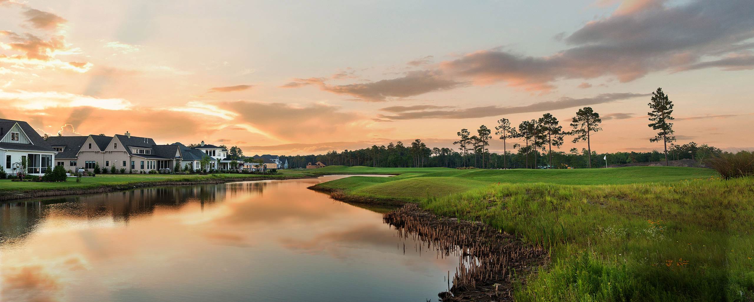 Beautiful homes alongside water and golf and nature.