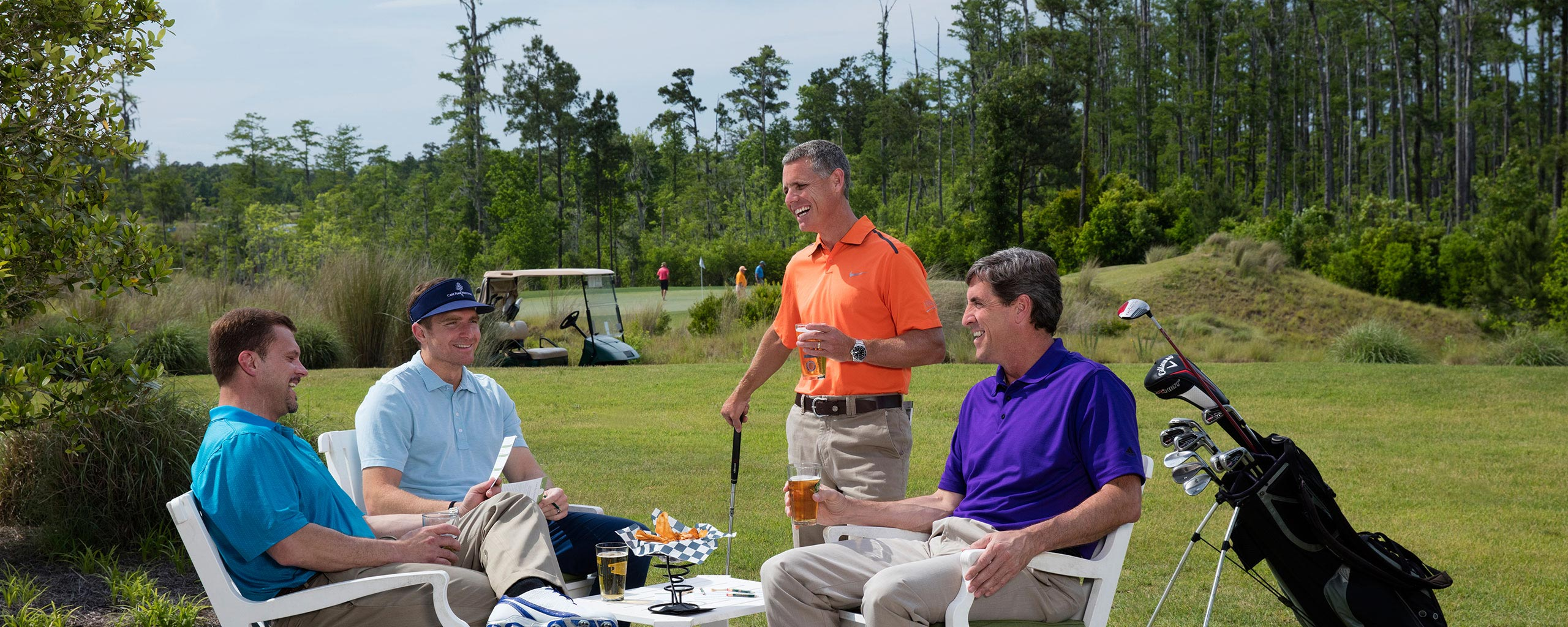 Cape Fear National Golfers Enjoying refreshments after their tee time