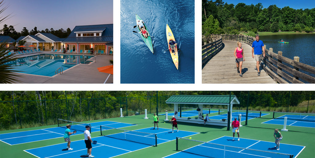 pool, pickleball, kayaking