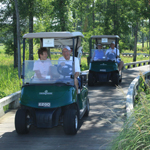 Foursome driving golf carts on path