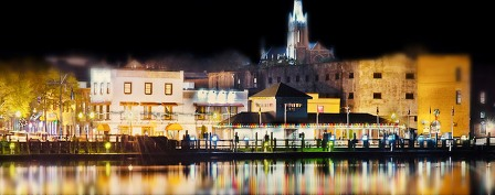 Night lights of Downtown Wilmington NC
