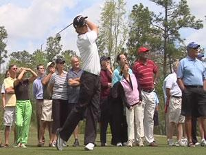 Golfer teeing off at Cape Fear National