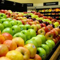 Close up of various kinds of apples inside of Lowes Foods