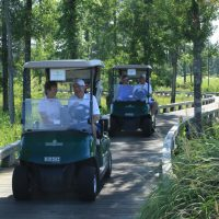 Foursome driving on wooden cart path