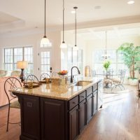 The large kitchen island in the Amelia II