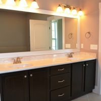 The master bathroom vanity in the Ansley II