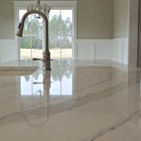 Granite countertops in the gourmet kitchen of the Portsmith at Brunswick Forest