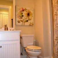A guest bathroom in the Nantucket II at Brunswick Forest