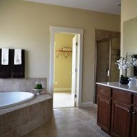The master bathroom in the Nantucket II at Brunswick Forest