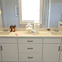 A close-up of the master bath vanity in the Fulbright at Brunswick Forest