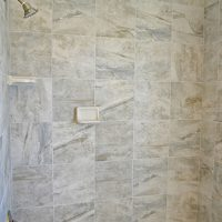 The master bath shower in the Newport II at Brunswick Forest