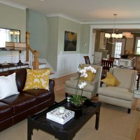 The living room in the Maybeck at Brunswick Forest