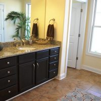 The master bathroom in the Padre Island at Brunswick Forest