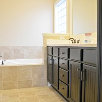 The master bathroom in the Pelican II at Brunswick Forest