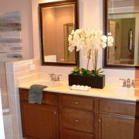 The master bath vanity in the Plum Island at Brunswick Forest