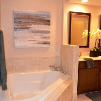 The master bath in the Plum Island at Brunswick Forest