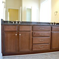 Double vanity in the master bath of the Hamilton Bay at Brunswick Forest