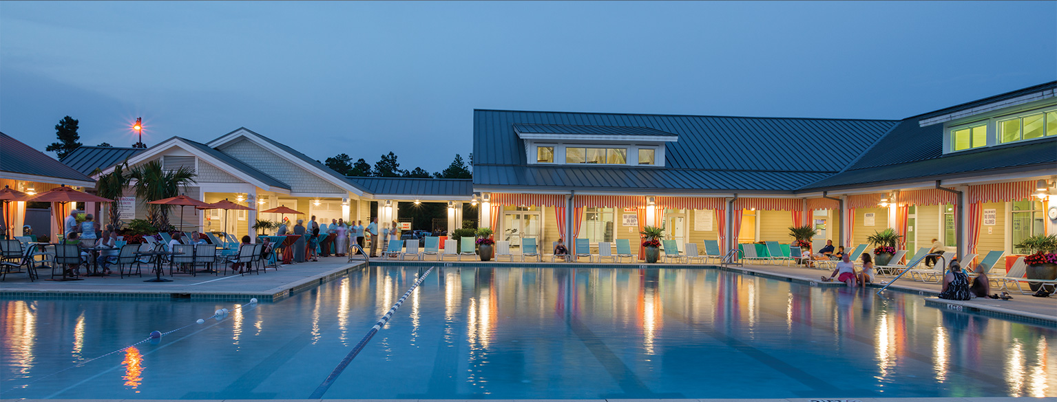 Night Time Shot Of Brunswick Forest Pool
