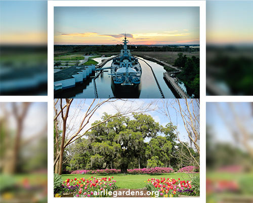 Collage of the Battleship (downtown Wilmington, North Carolina) and Airlie Gardens