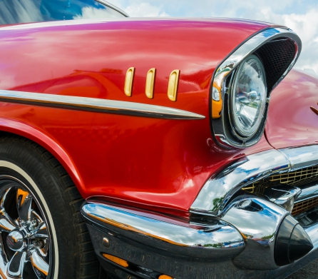 detailed view of the light old American car