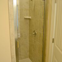 Walk-in shower in the flex bathroom of the Hamilton Bay at Brunswick Forest